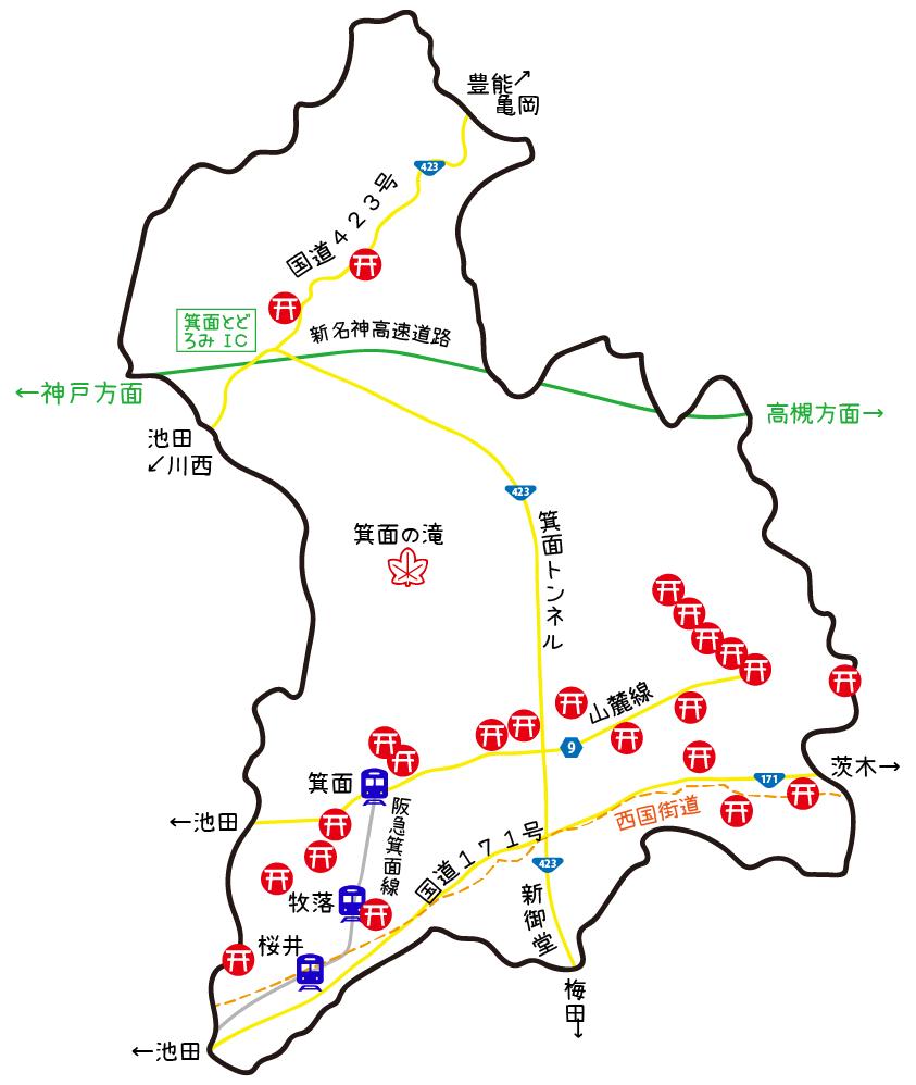 箕面市神社イメージマップ